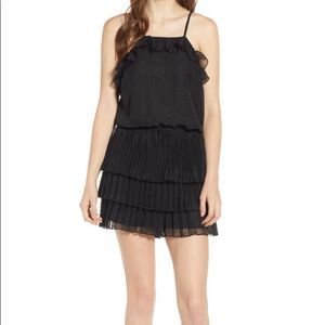 Endless Rose Pleated Tier Swiss Dot Black Romper